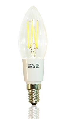 LED-Glühfadenkerze E14 klar, copyright PolyTrade GesmbH, alle Rechte vorbehalten